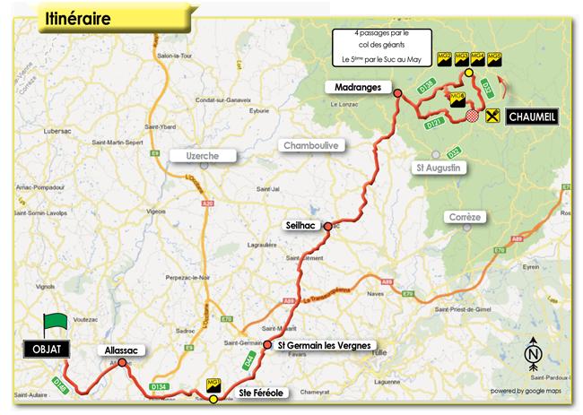 parcours 2ème étape Paris-Corrèze 2012